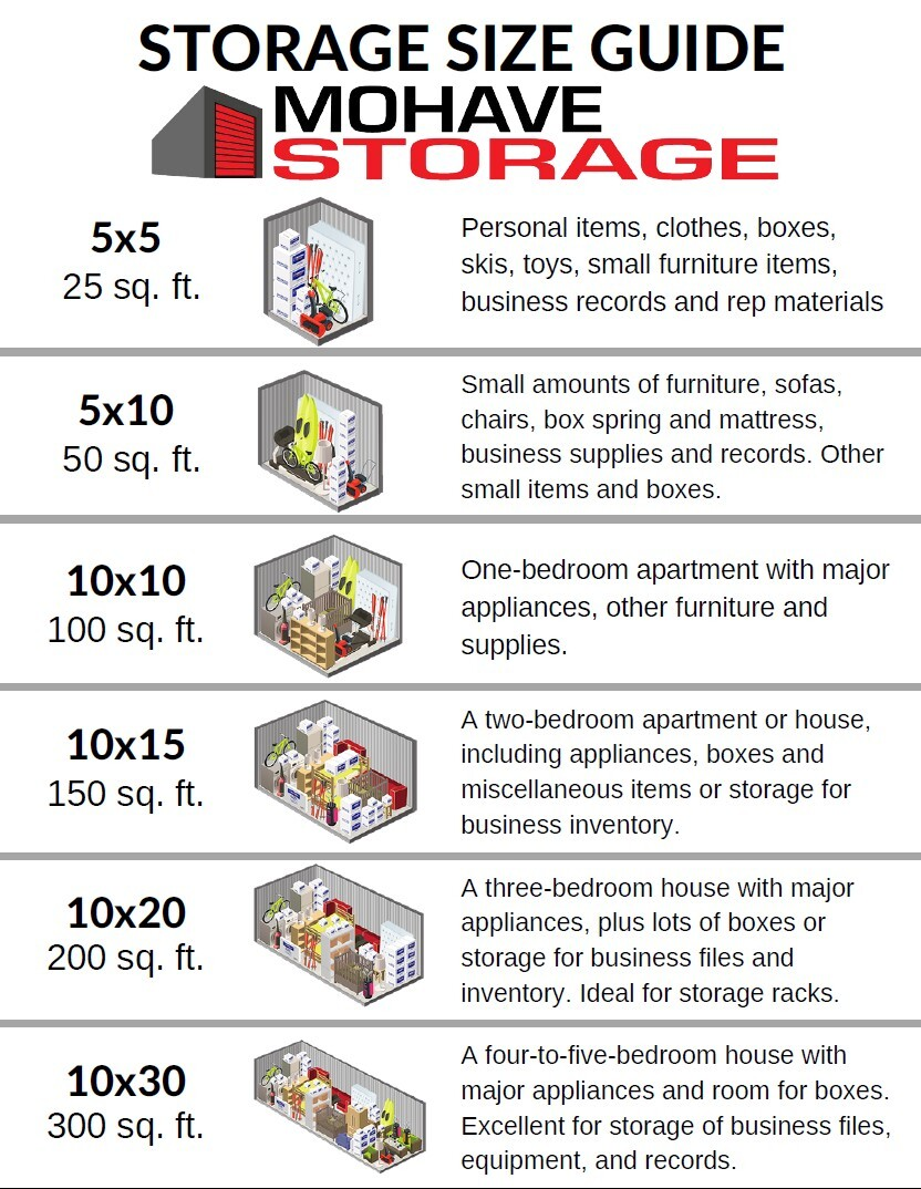 mohave storage size guide what size unit do i need
