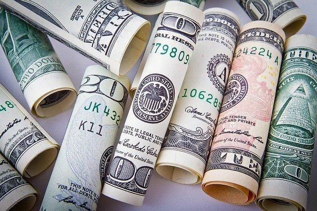 Rolled US dollar bills
